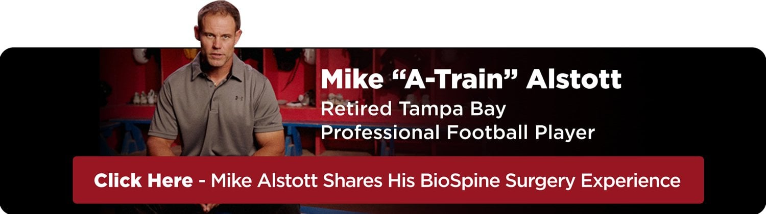 """Mike """"A-Train"""" Alstott - Retired Tampa Bay Professional Football PLayer - Click Here - Mike Alstott Shares His BioSpine Surgery Experience"""